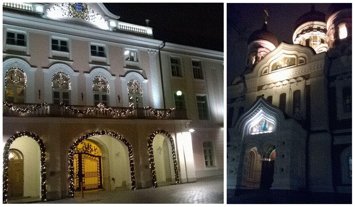 Kairėje – Estijos parlamentas, dešinėje – Aleksandro Nevskio katedra