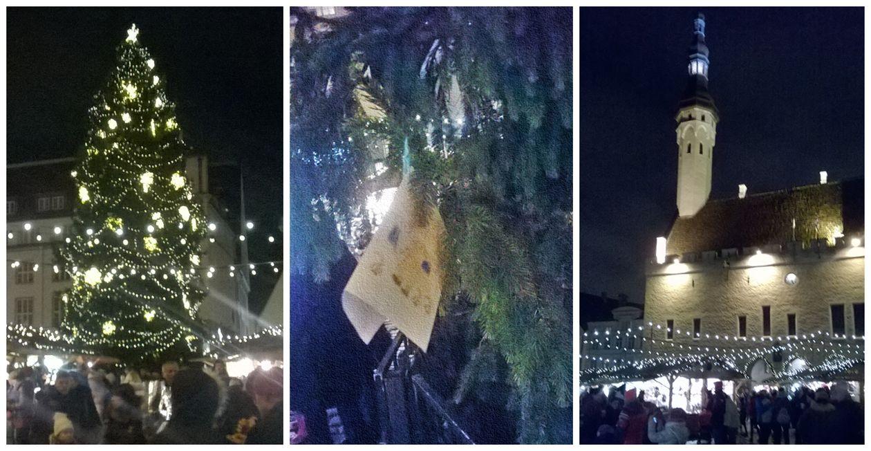 Kairėje – centrinės aikštės eglutė naktį, viduryje – vaikų piešiniai Kalėdų Seneliui, dešinėje – jau anksčiau matyti centrinės aikštės vaizdai